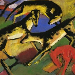 Playing Dogs (1912) by Franz Marc