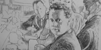 Dylan Thomas in a pub - version 2 - signed